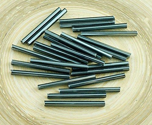 80pcs x 20mm Extra Lang Schwarz Runde Silber Ausgekleidet Tschechische Glas Bugle Glasperlen PRECIOSA Rohre -