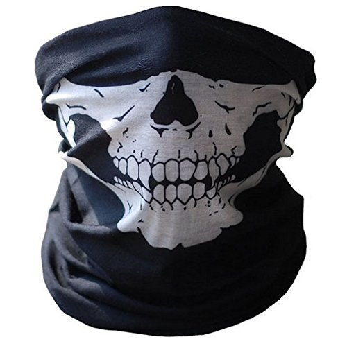 Skelettmaske Halstuch Schlauchtuch Halber Schädel Motorrad Gesichtsmaske Rohr Maske schwarz