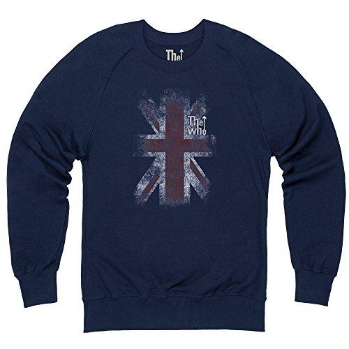 Official The Who Felpa girocollo - Union Jack Distressed, Uomo, Blu navy, XL