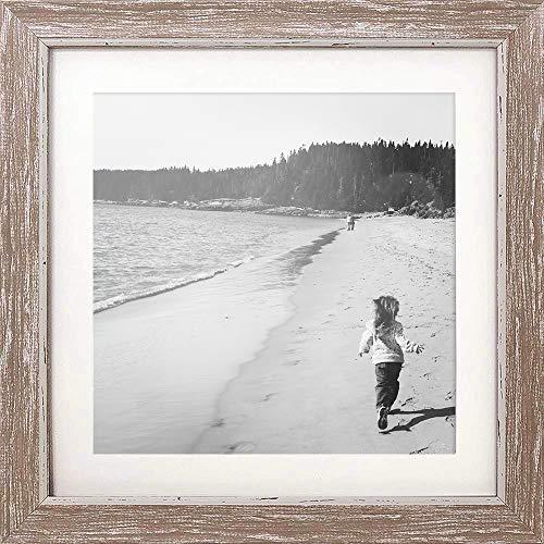 PF&A 25x25 cm mit Passepartout für 20x20 cm - Abgenutzter-Holz Effekt Shabby Chic Quadratischer Bilderrahmen - Glas Scheibe/Breite des Rahmens 2 cm