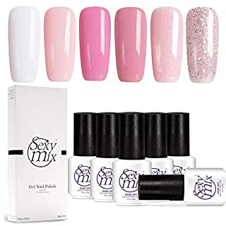 Sexy Mix Gel Nail Polish Pink,UV LED Gel Polish Set, Manicure Varnish Colour Gel 6 Pcs 7ML