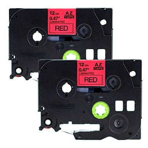 coLorty 2 x Schriftband Kompatibel für Brother TZe-431 TZ-431 TZ431 P-Touch Laminiertes Band Schwarz auf Rot 1/2 Inch x 26.2 Feet