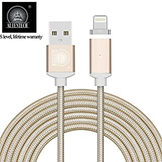 ALTech 1 Pack Gold Strong Magnetic Nylon Braided Charging And Data Transfer Sync Cable With LED Indicator Apply for iphone 5 5s 6 6s 7 7P 2M