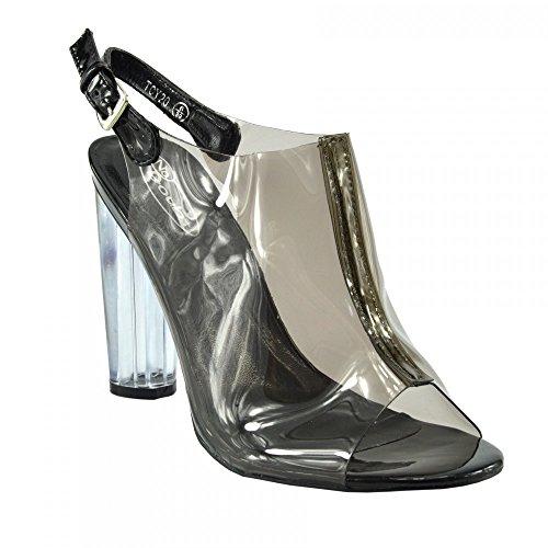 Kick Footwear - Donne Perspex Tacchi Alti Chiaro Tracolla Pizzo Festa Di Formato Del Pattino Nero - TCY20