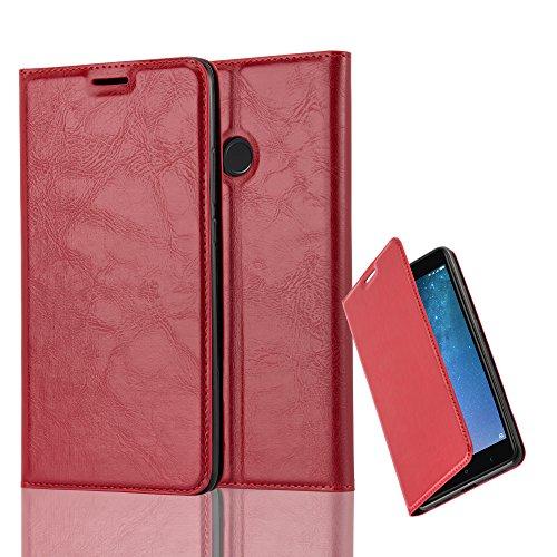 Cadorabo Hülle für Xiaomi Mi MAX 2 - Hülle in Apfel ROT – Handyhülle mit Magnetverschluss, Standfunktion und Kartenfach - Case Cover Schutzhülle Etui Tasche Book Klapp Style