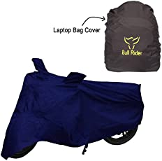 Water Proof Two Wheeler Cover for Royal Enfield Classic Chrome (Navy)-with Laptop Bag Cover