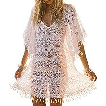 iBaste Playa Vestidos Largos Blusas Mujer Sexy Tejidos Crochet Encaje Borla Bikini Cover up Traje de
