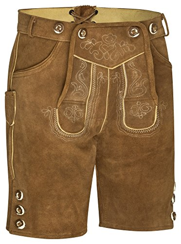 Herren Trachten Kurz Lederhose mit Träger (48 Hellbraun) -