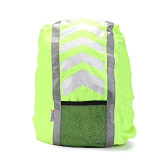 Radiancy Inc AYKRM hi viz backpack cycling backpack High Visibility Reflective Waterproof Rucksack Cycling or Running Backpack Cover (Yellow)