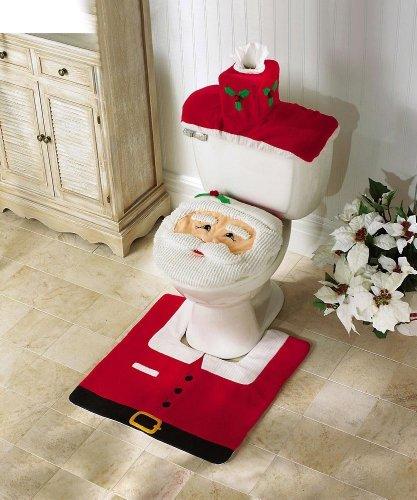 J*myi Weihnachtsdekoration Santa Toilette Set Sitzbezug Teppich Tissue Box Cover Set Geschenk (A)