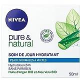 Nivea Pure et Natural Soin de Jour Hydratant Peaux Normales à Mixtes 50 ml