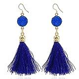 Daesar Pendiente Redondo Borla Larga Pendiente Azul Pendientes Chapado en Oro Mujer