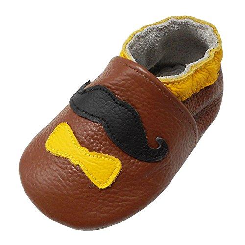YALION Babys Erste Lauflernschuhe Leder Krabbelschuhe Hausschuhe Weiche Lederpuschen mit Sanfte Krawatte(0-6 Monate EU,Braun)