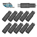 EASTBULL 1GB USB 2.0 Memory Stick Speicherstick, 10 stück Schwarz