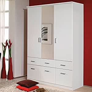 kleiderschrank wei 3 t ren b 136 cm schrank dreht renschrank w scheschrank spiegelschrank. Black Bedroom Furniture Sets. Home Design Ideas