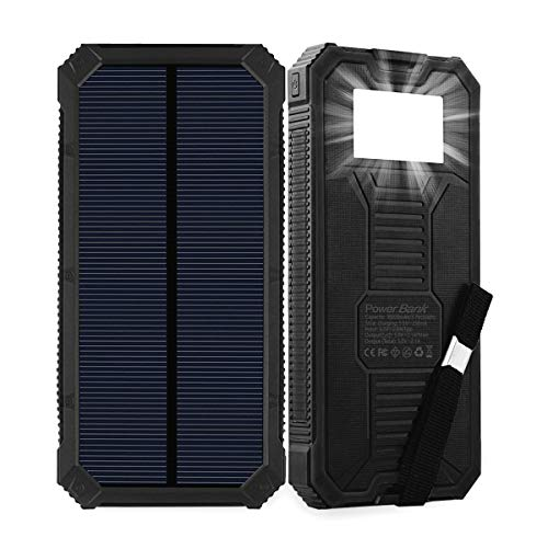 Friengood Solar-Ladegerät, 15000 mAh, tragbare Solar-Powerbank, Dual-USB-Ports, Solar-Handy-Ladegerät, mit 6 LED-Taschenlampen, für iPhone, iPad, Samsung und mehr (Handy Dual-ladegerät)