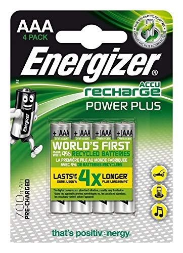 Energizer Wiederaufladbare Batterien AAA, Recharge Power Plus, 4 Stück