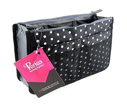 Periea Organizzatore da borsetta , Liner, Insert 12 tasche grandi 30x19x9cm - Chelsy - nero con pois bianchi