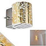 Wandleuchte Bamako aus Glas in Goldfarben – Wand-Lampe mit Up & Down-Effekt – LED-geeignete Zimmerleuchte mit Schalter für Wohnzimmer, Schlafzimmer, Kinderzimmer, Esszimmer, Flur – G9-Fassung