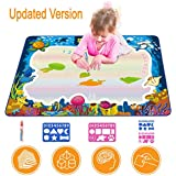Updated 2019 Version AquaDoodle Drawing Mat for Kids, Aqua Doodle Pad Educational Gifts Developmental Toys Coloring Water Magic Mats Scribble Board Pad Painting Markers for Baby Toddler with Pens