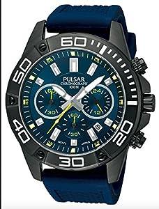 Pulsar Sport - Reloj de cuarzo para hombre, correa de goma color azul de Pulsar