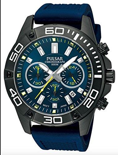 Pulsar Sport - Reloj de cuarzo para hombre, correa de goma color azul