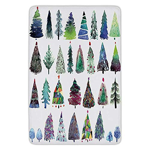 Fir Multi Color Christmas Tree (Bathroom Bath Rug Kitchen Floor Mat Carpet,Christmas,Big Collection of Watercolor Christmas Fir Trees Artistic Abstract Silhouettes,Multicolor,Flannel Microfiber Non-Slip Soft Absorbent)