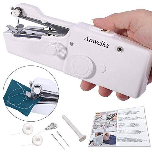 Aoweika Mini Máquina de Coser Manual Portátil Herramienta de Puntada Rápida para Cortina Ropa Tela