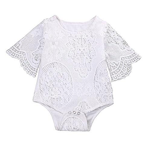 TURBOMSUN Infant Enfants Bébé Fille blanc Ruffles creuses Dentelle Romper vêtements bodysuits 100%
