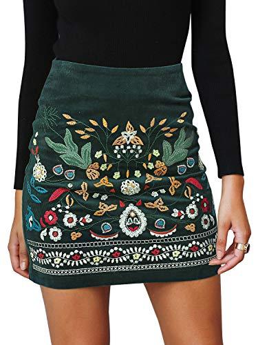 Annybar Damen Kurz Skirt Sexy Elegant A Linien Rock Kord Röcke, Dunkel Grün ( 36 / S )