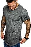 Amaci&Sons Oversize Herren Vintage T-Shirt Zipper Crew Neck Rundhals Basic Shirt 6004 Anthrazit Verwaschen M