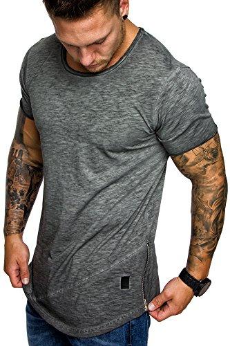 Amaci&Sons Oversize Herren Vintage T-Shirt Zipper Crew Neck Rundhals Basic Shirt 6004 Anthrazit Verwaschen XL