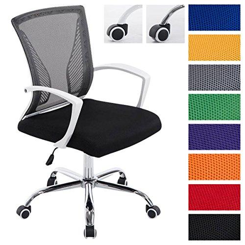 Clp sedia da ufficio girevole tracy colorata | sedia da scrivania comoda | sedia direzionale con rivestimento in rete dotata di braccioli | sedia pc imbottita con telaio in metallo | max capacità di carico 136 kg telaio cromato, fodera nera
