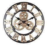 WXIN Das Wohnzimmer Wanduhr Gear Clock Wohnzimmer Wanduhr Home Holz- Römischen Gold 80 Cm