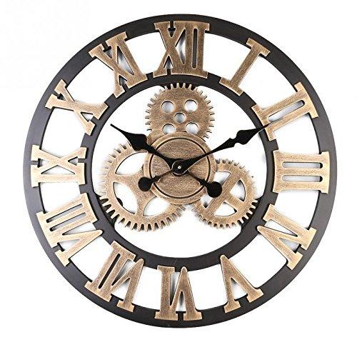 Preisvergleich Produktbild Alicemall Wanduhr Vintage Dekoration Rahmenlose Wandaufkleber 3D mit Ziffernblatt ohne Ticken modern Vintage Metall groß Uhren Wohnzimmer Schlafzimmer(Style 7)