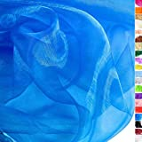 TOLKO® Meterware | uni ORGANZA Deko-Stoff zum Nähen, Drapieren und Basteln | Durchsichtig, Fein, Hauch Zart (Royal-Blau)