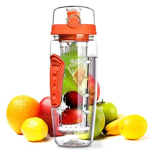 OMORC Bouteille Infusion de Fruits 900ml Bouteille Sport avec Infuseur à Fruits Bouteille d'eau Jus Gourde Infuser Fruit avec Couvercle Anti-Fu