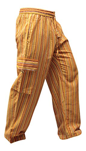 SHOPOHOLIC FASHION - Pantalones hippies de pierna ancha unisex, bolsillos laterales, diseño rayas multicolor multicolor Orange Mix XXL
