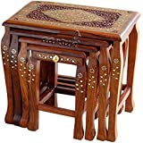Aarsun Wooden Stool Set Of 4 Handcrafted In Seasoned Sheesham Wood With Brass Work