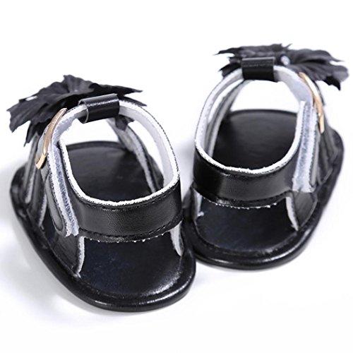 Pour 0-18 mois Bébé,Transer ® Joli bébé filles PU cuir fleur anti-dérapant sandales Noir