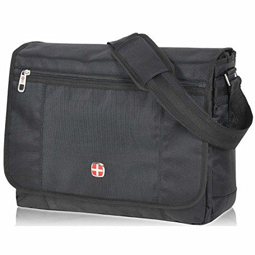 TOLLE XL Damen Herren Messenger Laptop Bag von KEANU :: Notebook-Fach Organizerfach großes Hauptfach 13 Liter :: Business Arbeits-Tasche Flugumhänger Umhängetasche Lugano Grid (Hauptfach Großes)