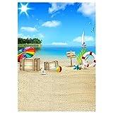 LEDMOMO 3D Fondo de Fotografía de Playa Mar Apoyos de Pared Decoraciones para Tomar Fotos para...