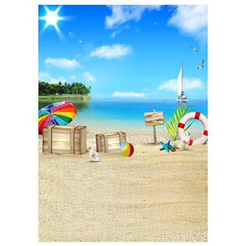 Uonlytech Strand Fotostudio Hintergrundtuch 3D Fotografie Hintergrund Wand Requisiten Seaside 90x150cm (1589) Collapsible Muslin Hintergrund