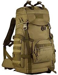 Sac à dos avec plusieurs poches Sac de voyage Sac de montagne Sac bandoulière multifonction Sac de Camping en Plein Air tactique Sac de randonnée pour Homme et Femme 56-75L