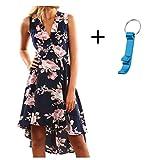 Elecenty Damen V-Ausschnitt Strandkleid Irregulär Sommerkleid Rock Mädchen Blumen Drucken Abendkleider Kleider Frauen