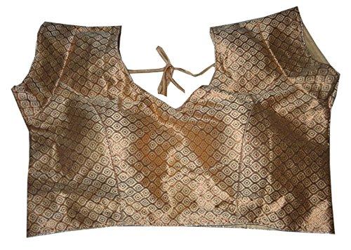 Bigfashionshop Women's Designer Blouse Brocade Silk Golden Stitched Padded Choli Medium  available at amazon for Rs.470