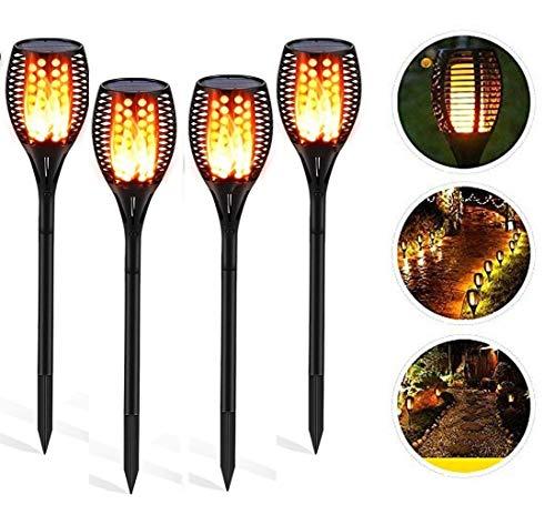 Garten Solar Taschenlampe, 2-in-1 LED-Leuchten im Freien Garten Diamant-Linse wasserdichte Lampe Landschaft Pathway Wireless Lights Edelstahl (4pc) (Design : 96LED)