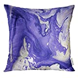 Cupsbags Throw Pillow Cover Blue Hand Marble Violet and Beige Mixed Colours Abstract Unusual for Websites Modern Trendy Beautiful Decorative Pillow Case Home Decor Square 18x18 inches Pillowcase