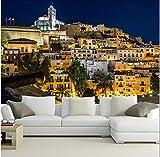 Yirenfeng Mural grande en 3D personalizado, casas de España, nightpapel de parede de Ibiza, sofá de la sala de estar, TV, pared, papel de pared, dormitorio, papel de pared, 300 x 200 cm.