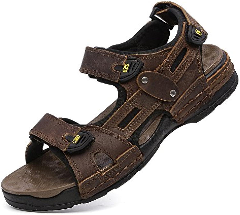 TYAW-Zapatos de Hombre Calzado de Playa Sandalias de Cuero Color Sólido Toe Magic Pegatinas